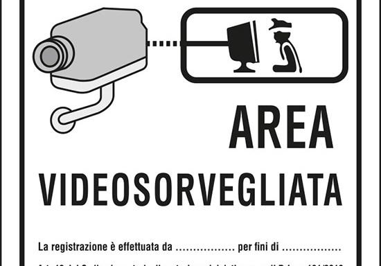 AREA VIDEOSORVEGLIATA La registrazione è effettuata da ____ per fini di ____ . Art. 13 del Codice in materia di protezione dei dati personali D.Lgs. 101/2018 e del Regolamento UE 2016/679 (GDPR)