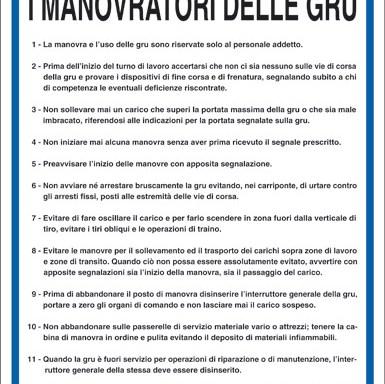 NORME DI SICUREZZA PER I MANOVRATORI DELLE GRU