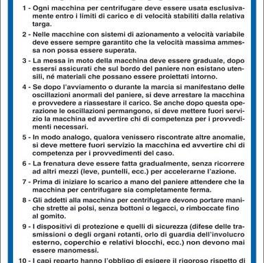 MACCHINE PER CENTRIFUGARE NORME DI SICUREZZA