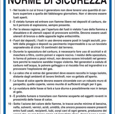 CARBURO DI CALCIO NORME DI SICUREZZA