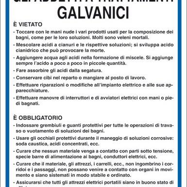 NORME DI SICUREZZA PER GLI ADDETTI A TRATTAMENTI GALVANICI
