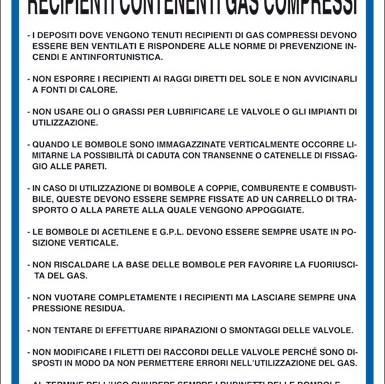 NORME DI SICUREZZA PER L'USO DI RECIPIENTI CONTENENTI GAS COMPRESSI