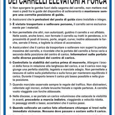 NORME DI SICUREZZA PER L'USO DEI CARRELLI ELEVATORI A FORCA