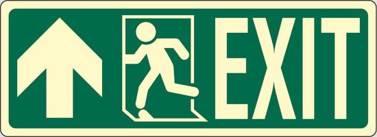 EXIT (diritto a sinistra ) luminescente