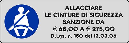 ALLACCIARE LE CINTURE DI SICUREZZA SANZIONE DA € 68,00 A € 275,00 D.Lgs. n. 150 del 13.03.06