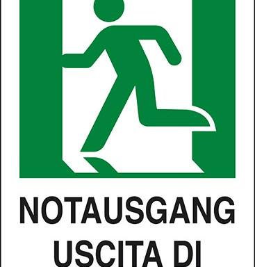NOTAUSGANG USCITA DI EMERGENZA (a sinistra con omino)