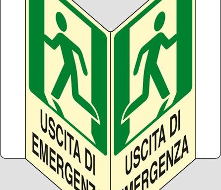 """USCITA DI EMERGENZA a """"V"""" luminescente"""