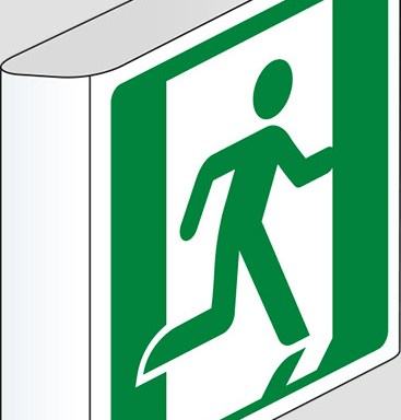 (uscita di emergenza a sinistra – emergency exit left hand) a bandiera