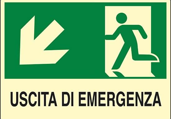 USCITA DI EMERGENZA (scala in basso a sinistra) luminescente