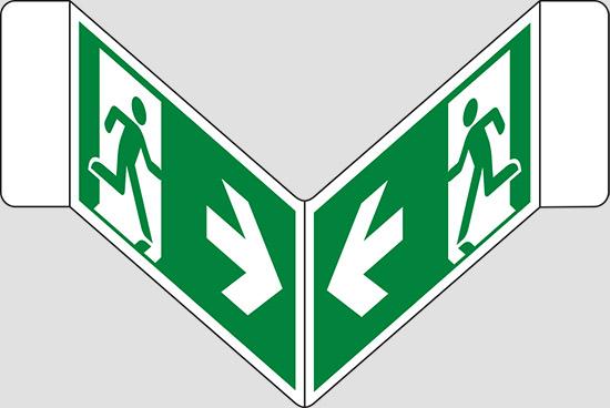 """(uscita di emergenza – emergency exit) a """"V"""""""