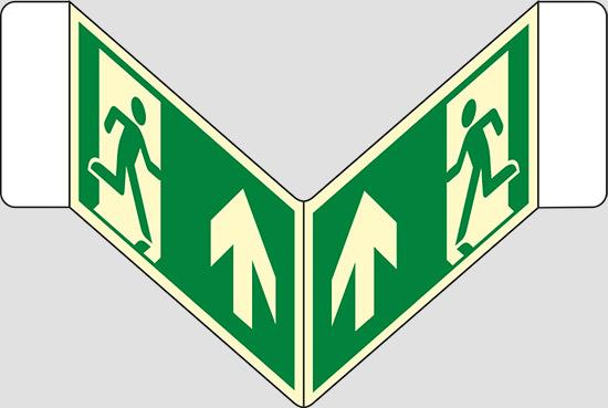 """(uscita di emergenza in alto) a """"V"""" luminescente"""