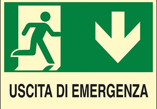 USCITA DI EMERGENZA (in basso) luminescente