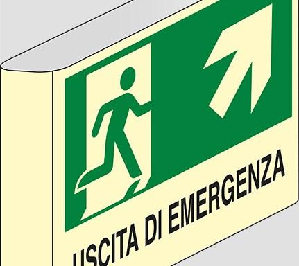 USCITA DI EMERGENZA (scala) a bandiera luminescente