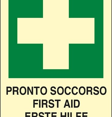 PRONTO SOCCORSO FIRST ID ERSTE HILFE POSTE DE SECOURS luminescente