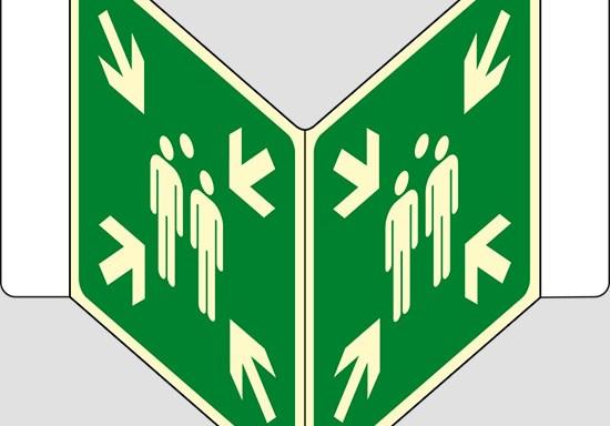 """(punto di ritrovo ed evacuazione – evacuation assembly point) a """"V"""" luminescente"""
