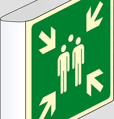 (punto di ritrovo ed evacuazione – evacuation assembly point) a bandiera luminescente