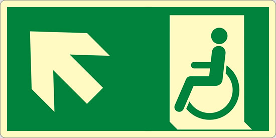 (uscita di emergenza disabili in alto a sinistra – emergency exit for people unable to walk up and left) luminescente
