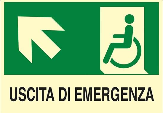 USCITA DI EMERGENZA (disabili in alto a sinistra) luminescente
