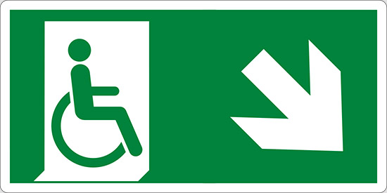 (uscita di emergenza disabili in basso a destra – emergency exit for people unable to walk down and right)