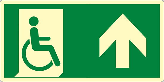 (uscita di emergenza disabili in alto – emergency exit for people unable to walk up hand) luminescente