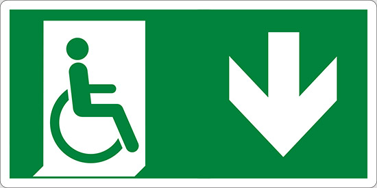 (uscita di emergenza disabili in basso – emergency exit for people unable to walk down hand)
