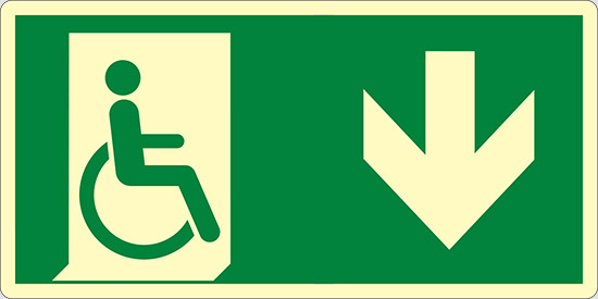 (uscita di emergenza disabili in basso – emergency exit for people unable to walk down hand) luminescente