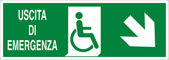 USCITA DI EMERGENZA (disabili in basso a destra)