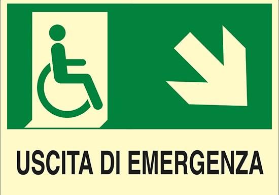 USCITA DI EMERGENZA (disabili in basso a destra) luminescente