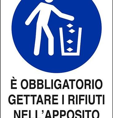 E' OBBLIGATORIO GETTARE I RIFIUTI NELL' APPOSITO CONTENITORE
