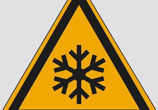 (warning: low temperature, freezing conditions)