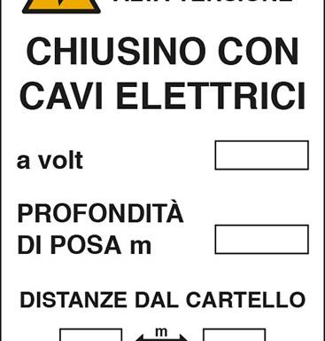 CHIUSINO CON CAVI ELETTRICI a volt PROFONDITA' DI POSA m DISTANZE DAL CARTELLO m
