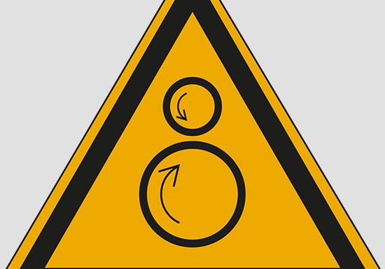 (warning: counterrotating rollers)