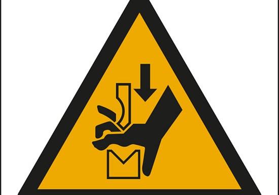 (avvertimento: schiacciamento delle mani tra gli organi della pressa – warning: hand crushing between press brake tool)