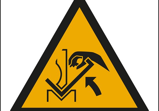 (avvertimento: schiacciamento delle mani tra pressa e materiale – warning: hand crushing between press brake and material)