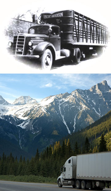 vintage truck and new truck on mountain road