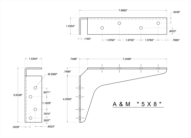 2 D Standard Bracket Drawings A Amp M Hardware