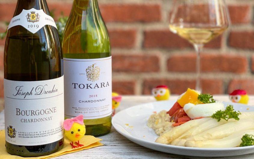 Chardonnay Gall en Gall met risotto met asperges en zalm
