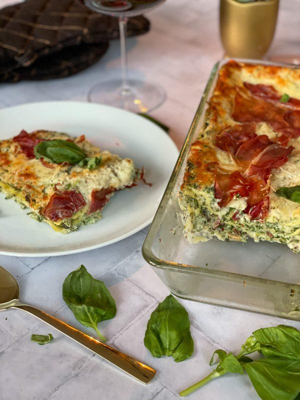 Comfort food lasagne met truffel spinazie en prosciutto