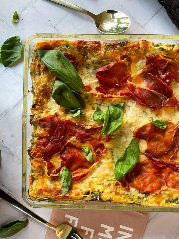 Lasagne truffel prosciutto spinazie