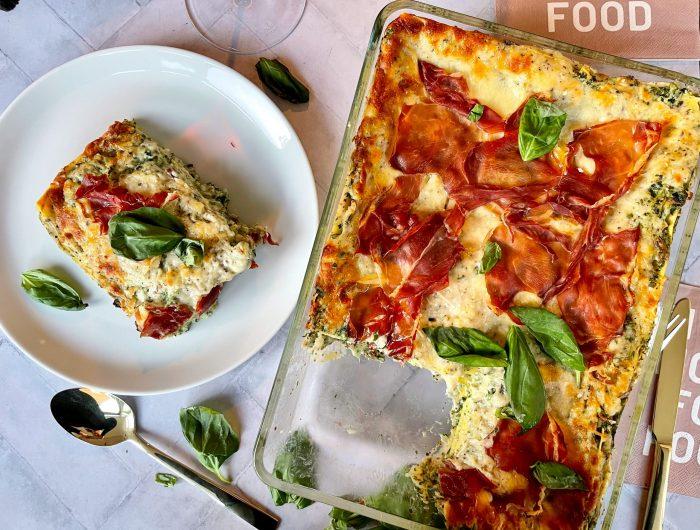 Lasagne met truffel, spinazie en prosciutto