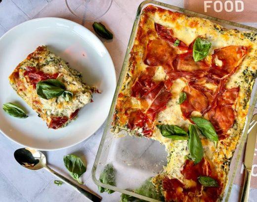 Lasagne truffel spinazie prosciutto