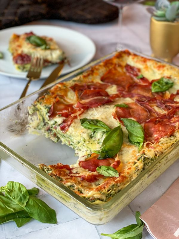 Truffellasagne met spinazie en prosciutto