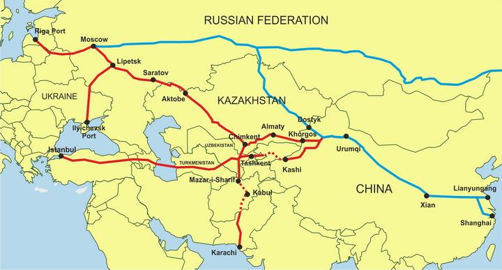 Image result for eurasian land bridge route map