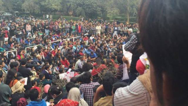 At JNU, Delhi. JNU students want Kanhaiya Kumar to be released. Source- BBC India