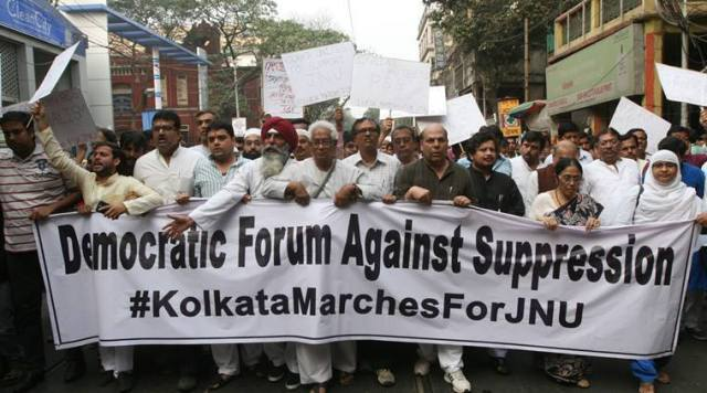 A protest march in Kolkata against the arrest of JNU Students' Union president Kanhaiya Kumar on sedition charges.