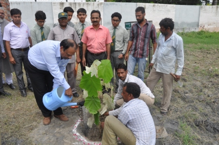 Prof. Mohammad Gulrez Director of Schools watering a plant