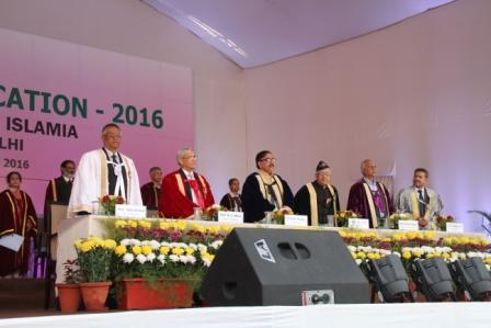 From L to R - JMI Vice Chancellor Prof Talat Ahmad, AIIMS Director, Dr M C Misra, HRD MoS (Higher Education) Dr Mahendra Nath Pandey and other dignataries at the Annual Convocation of the university