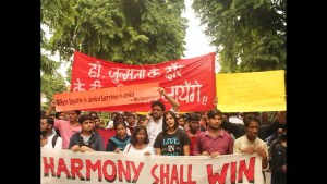 "Students take out a ""Poetry March"" at DU against incidents of violence growing within the campus"