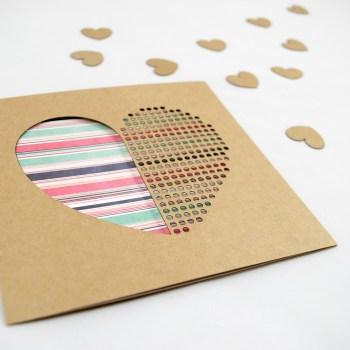 Dot Dot Heart Candystripe Pink Hue Handmade Valentines Day Card - Aardwolf Design Copyright