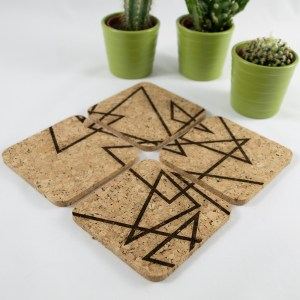 Triangle Splash Coaster Design – Aardwolf Design – Cork Coasters Set of 4